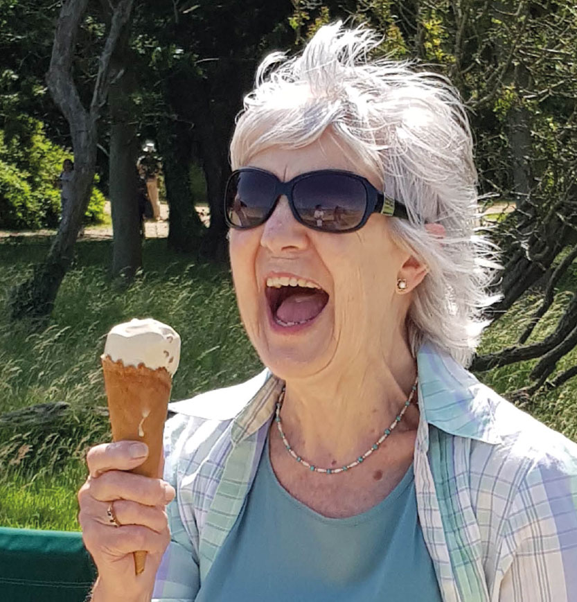 lady enjoying an icecream
