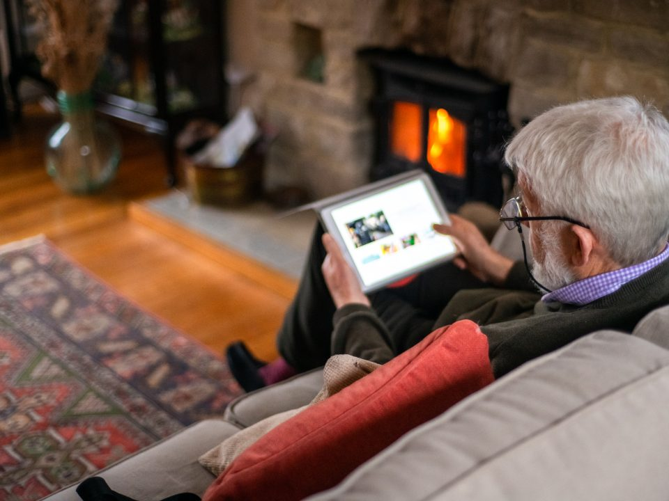 Man Reading Tablet