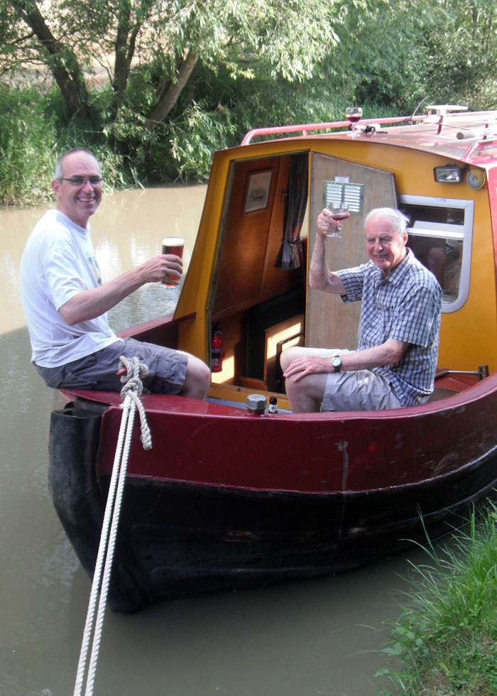 Enjoying a drink on a canal boat