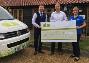 ECFS presenting a cheque to Dementia Adventure for £333