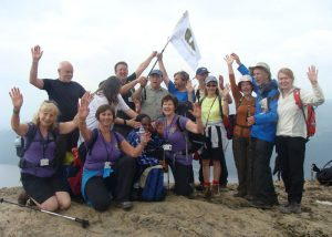 Group celebrating a climb to the top
